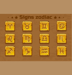 golden zodiac signs icons vector image vector image