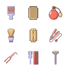 Hairdressing icons set flat style vector