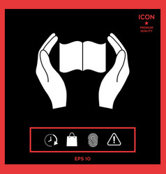 hands holding book- protection icon vector image
