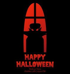 happy halloween window silhouette vampire shadow vector image vector image