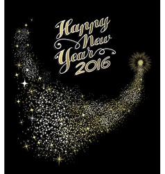 Happy New Year 2016 card night firework gold vector image