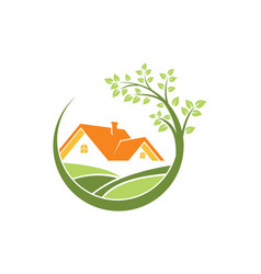 Home ecology green tree logo vector