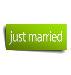 Just married green paper sign isolated on white vector