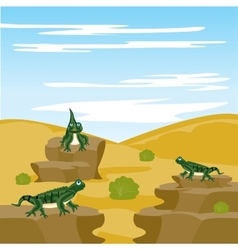 Lizard iguana in desert vector image
