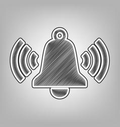 Ringing bell icon pencil sketch imitation vector