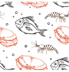 seamless pattern with crab and fish vector image