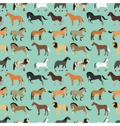 Seamless pattern with horse in flat style vector