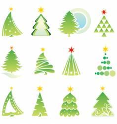 Set of christmas firs vector