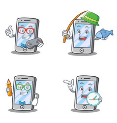 Set of iphone character with gamer fishing geek vector