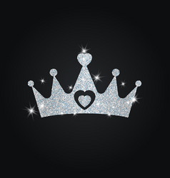 Silhouette of crown with glitters silhouette of vector