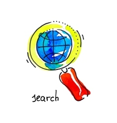 Sketch watercolor icon of search distance vector