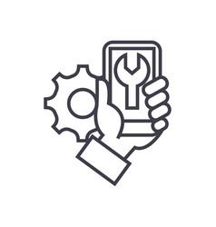 smartphone repair concept thin line icon vector image
