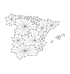 spain map of polygonal mosaic lines network rays vector image vector image