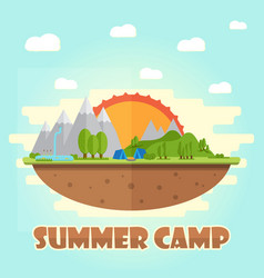 Summer camping graphic poster typographic labels vector