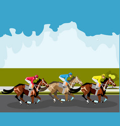 three racing horses competing with each other vector image