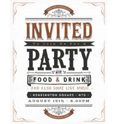 Vintage party invitation sign vector
