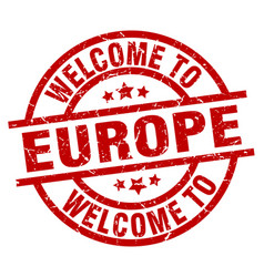 Welcome to europe red stamp vector