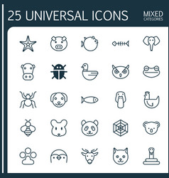 Zoology icons set collection of cobweb serpent vector