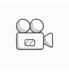 Video camera sketch icon vector