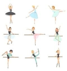 Ballerinas Training In Dance Class Set vector image