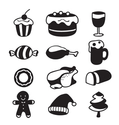 Food and drink icons set monochrome vector