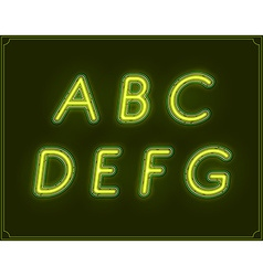 Neon italic font type alphabet glowing in vector