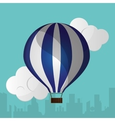 blue and white airballoon silhouette urban vector image