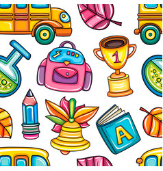 school colorful seamless pattern vector image