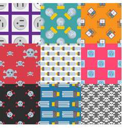 energy electricity power seamless pattern battery vector image