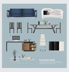 Furniture and home decoration set vector