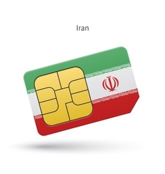 Iran mobile phone sim card with flag vector