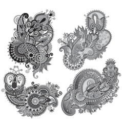 Grey original hand draw line art ornate flower vector