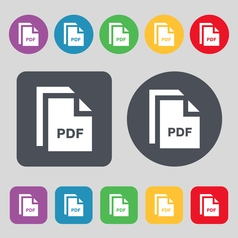 File pdf icon sign a set of 12 colored buttons vector