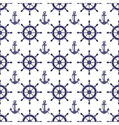 Nautical wheel and anchor seamless pattern vector