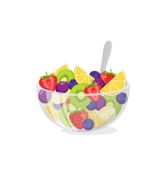 Fruit salad in glass bowl vector