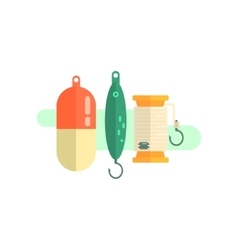 Fishing related objects set vector