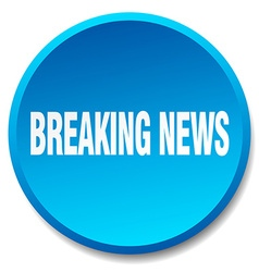Breaking news blue round flat isolated push button vector