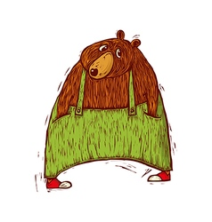 Bear in green trousers vector