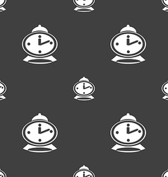 Alarm clock icon sign seamless pattern on a gray vector