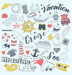 beach vacation freehand doodles with cruise vector image vector image