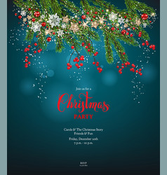 blue christmas holiday invitation vector image vector image