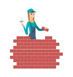 Bricklayer working with spatula and brick vector