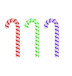 Colored sweet striped candy cane vector