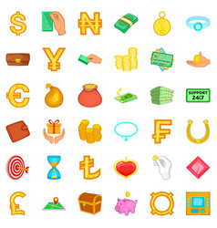 Dollar icons set cartoon style vector