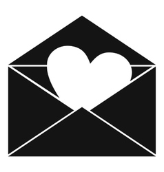 Envelope with valentine heart icon simple style vector