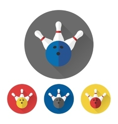 Flat skittles and bowling ball icons vector image