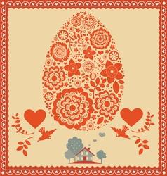 floral ornamental easter egg -poster vector image vector image