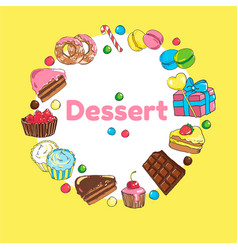 Frame of sweets set of candy and cakes vector