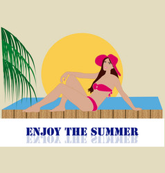 girl in pool vector image