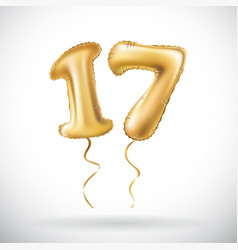 Golden number 17 seventeen metallic balloon party vector